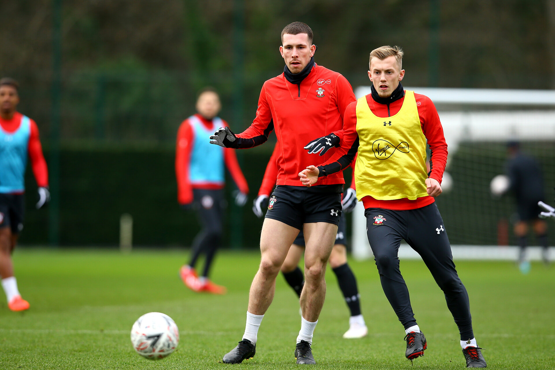 SOUTHAMPTON, ENGLAND - JANUARY 15: LtoR Pierre-Emile Højbjerg, James Ward-Prowse during a Southampton FC  training session at Staplewood Complex on January 15, 2019 in Southampton, England. (Photo by James Bridle - Southampton FC/Southampton FC via Getty Images)