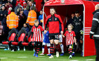 SOUTHAMPTON, ENGLAND - JANUARY 19: Pierre-Emile Hojbjerg of Southampton leads the teams out with the match day mascots during the Premier League match between Southampton FC and Everton FC at St Mary's Stadium on January 19, 2019 in Southampton, United Kingdom. (Photo by Matt Watson/Southampton FC via Getty Images)