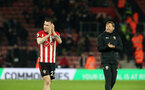SOUTHAMPTON, ENGLAND - JANUARY 19: Pierre-Emile Hojbjerg and Ralph Hasenhuttl during the Premier League match between Southampton FC and Everton FC at St Mary's Stadium on January 19, 2019 in Southampton, United Kingdom. (Photo by Chris Moorhouse/Southampton FC via Getty Images)
