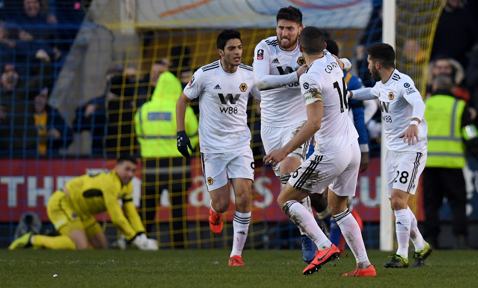 Wolverhampton Wanderers' Irish defender Matt Doherty (3R) celebrates scoring his team's second goal during the English FA Cup fourth round football match between Shrewsbury Town and Wolverhampton Wanderers at Montgomery Waters Meadow stadium in Shrewsbury, central England, on January 26, 2019. - The match ended 2-2. (Photo by Paul ELLIS / AFP) / RESTRICTED TO EDITORIAL USE. No use with unauthorized audio, video, data, fixture lists, club/league logos or 'live' services. Online in-match use limited to 120 images. An additional 40 images may be used in extra time. No video emulation. Social media in-match use limited to 120 images. An additional 40 images may be used in extra time. No use in betting publications, games or single club/league/player publications. /         (Photo credit should read PAUL ELLIS/AFP/Getty Images)