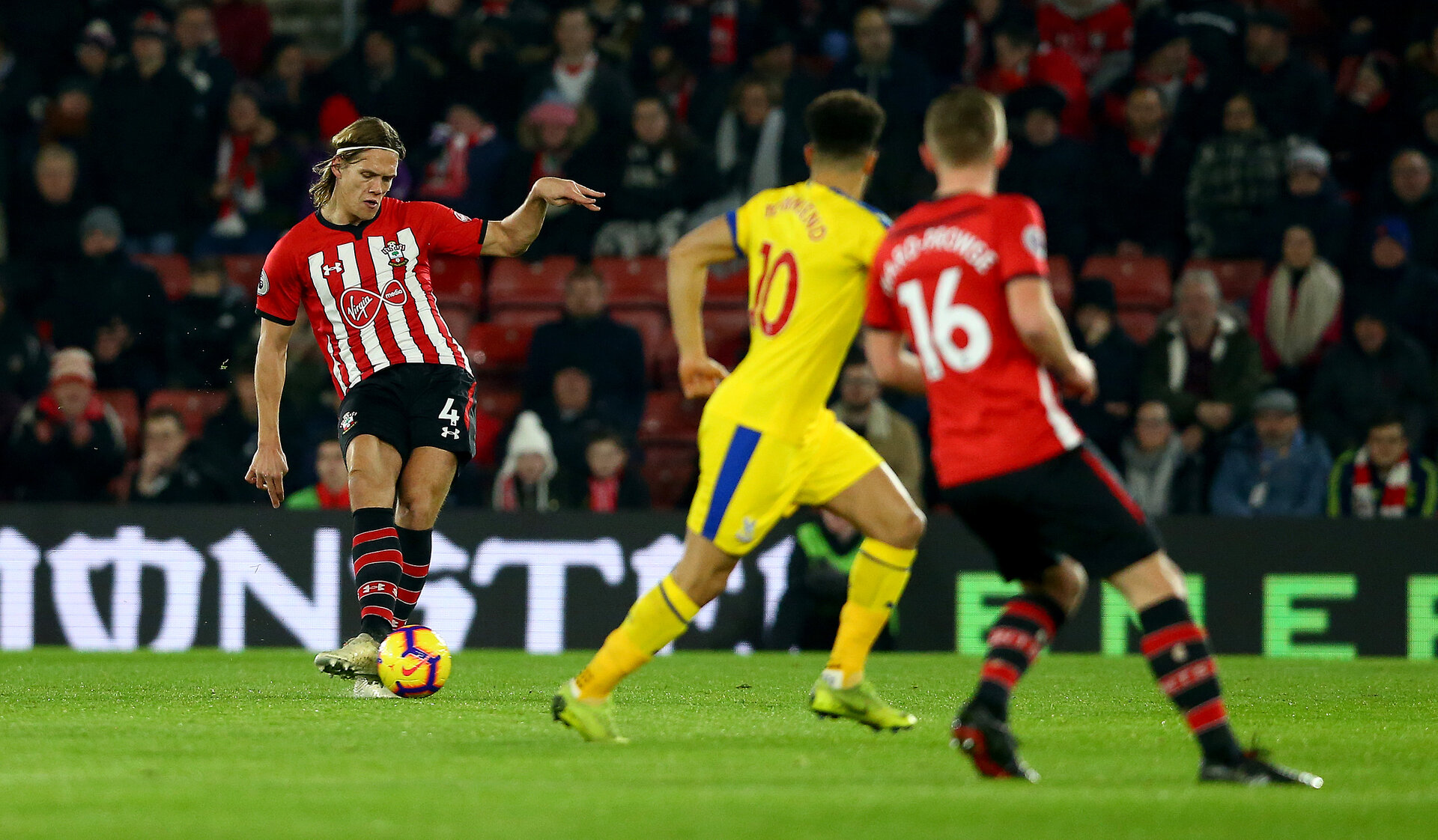 SOUTHAMPTON, ENGLAND - JANUARY 30: Jannik Vestergaard of Southampton during the Premier League match between Southampton FC and Crystal Palace at St Mary's Stadium on January 30, 2019 in Southampton, United Kingdom. (Photo by Matt Watson/Southampton FC via Getty Images)