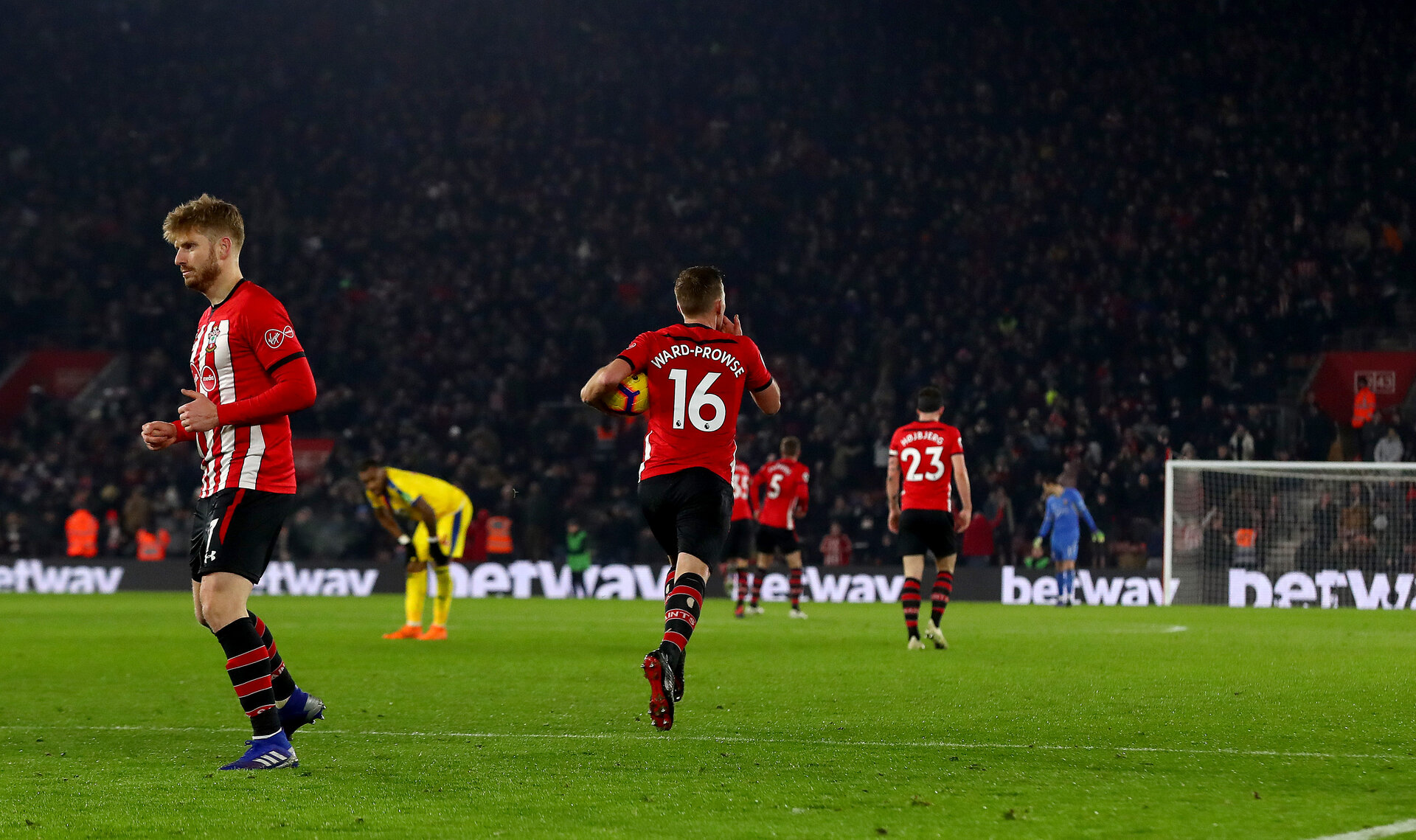 SOUTHAMPTON, ENGLAND - JANUARY 30: James Ward-Prowse of Southampton celebrates during the Premier League match between Southampton FC and Crystal Palace at St Mary's Stadium on January 30, 2019 in Southampton, United Kingdom. (Photo by Matt Watson/Southampton FC via Getty Images)