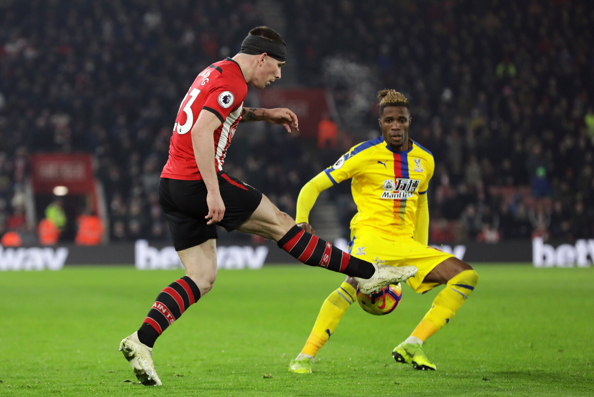 SOUTHAMPTON, ENGLAND - JANUARY 30: Pierre-Emile Hojbjerg during the Premier League match between Southampton FC and Crystal Palace FC at St Mary's Stadium on January 30, 2019 in Southampton, United Kingdom. (Photo by Chris Moorhouse/ Southampton FC via Getty Images)