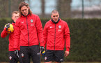 SOUTHAMPTON, ENGLAND - FEBRUARY 01: Jannik Vestergaard(centre) during a Southampton FC training session at the Staplewood Campus on February 01, 2019 in Southampton, England. (Photo by Matt Watson/Southampton FC via Getty Images)