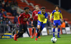 LEIGH, GREATER MANCHESTER - FEBRUARY 01:  Marcus Barnes (right) during the PL2 match between Manchester United and Southampton FC pictured at Leigh Sports Village on February 01, 2019 in Leigh, Greater Manchester. (Photo by James Bridle - Southampton FC/Southampton FC via Getty Images)