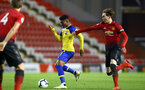 LEIGH, GREATER MANCHESTER - FEBRUARY 01:  Nathan Tella (middle) during the PL2 match between Manchester United and Southampton FC pictured at Leigh Sports Village on February 01, 2019 in Leigh, Greater Manchester. (Photo by James Bridle - Southampton FC/Southampton FC via Getty Images)
