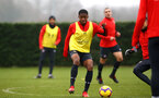 SOUTHAMPTON, ENGLAND - FEBRUARY 05: Kayne Ramsay (middle) during a Southampton FC  training session at Staplewood Complex on February 05, 2019 in Southampton, England. (Photo by James Bridle - Southampton FC/Southampton FC via Getty Images)