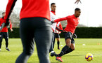 SOUTHAMPTON, ENGLAND - FEBRUARY 06: LtoR Yan Valery takes on team mate Kayne Ramsay during a Southampton FC training session at Staplewood Complex on February 06, 2019 in Southampton, England. (Photo by James Bridle - Southampton FC/Southampton FC via Getty Images)