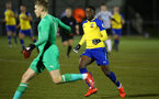 NEWCASTLE, ENGLAND - FEBRUARY 08: Jonathan Afolabi  (right) during a PLCUP match between Southampton FC and Newcastle United pictured at Northumberland County FA on February 08, 2019 in Newcastle, England. (Photo by James Bridle - Southampton FC/Southampton FC via Getty Images)