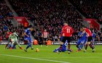 SOUTHAMPTON, ENGLAND - FEBRUARY 09: Charlie Austin of Southampton shoots at goal during the Premier League match between Southampton FC and Cardiff City at St Mary's Stadium on February 09, 2019 in Southampton, United Kingdom. (Photo by Matt Watson/Southampton FC via Getty Images)