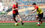 TENERIFE, SPAIN - FEBRUARY 12: Oriol Romeu(L) and Alfie Jones on day 2 of Southampton FC's winter training Camp, on February 12, 2019 in Tenerife, Spain. (Photo by Matt Watson/Southampton FC via Getty Images)