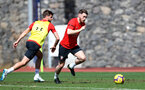 TENERIFE, SPAIN - FEBRUARY 12: Jack Stephens(L) and Callum Slattery on day 2 of Southampton FC's winter training Camp, on February 12, 2019 in Tenerife, Spain. (Photo by Matt Watson/Southampton FC via Getty Images)