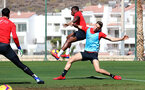 TENERIFE, SPAIN - FEBRUARY 13: Michael Obafemi(L) and Jan Bednarek on day 3 of Southampton FC's winter training camp on February 13, 2019 in Tenerife, Spain. (Photo by Matt Watson/Southampton FC via Getty Images)