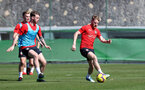 TENERIFE, SPAIN - FEBRUARY 13: Callum Slattery(L) and Josh Sims on day 3 of Southampton FC's winter training camp on February 13, 2019 in Tenerife, Spain. (Photo by Matt Watson/Southampton FC via Getty Images)