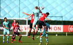 SOUTHAMPTON, ENGLAND - FEBRUARY 23:  Benni Smails Braithwaite (left) Ody Spyrids (right) during the U18's premier league match between Southampton FC and Arsenal FC pictured in Southampton, England. (Photo by James Bridle - Southampton FC/Southampton FC via Getty Images)