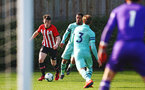 SOUTHAMPTON, ENGLAND - FEBRUARY 23: Will Ferry  (left) during the U18's premier league match between Southampton FC and Arsenal FC pictured in Southampton, England. (Photo by James Bridle - Southampton FC/Southampton FC via Getty Images)