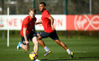 SOUTHAMPTON, ENGLAND - FEBRUARY 25:  LtoR Josh Sims, Ryan Bertrand during a Southampton FC training session pictured at Staplewood Training Ground in Southampton, England.  (Photo by James Bridle - Southampton FC/Southampton FC via Getty Images)