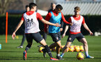 SOUTHAMPTON, ENGLAND - FEBRUARY 25:  LtoR Alfie Jones, Mohamed Elyounoussi, Josh Sims during a Southampton FC training session pictured at Staplewood Training Ground in Southampton, England.  (Photo by James Bridle - Southampton FC/Southampton FC via Getty Images)