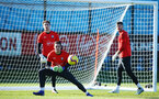 SOUTHAMPTON, ENGLAND - FEBRUARY 25:  Alex McCarthy makes a save (middle) during a Southampton FC training session pictured at Staplewood Training Ground in Southampton, England.  (Photo by James Bridle - Southampton FC/Southampton FC via Getty Images)