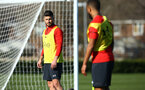 SOUTHAMPTON, ENGLAND - FEBRUARY 25:  Shane Long (left) during a Southampton FC training session pictured at Staplewood Training Ground in Southampton, England.  (Photo by James Bridle - Southampton FC/Southampton FC via Getty Images)