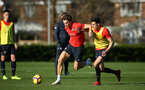 SOUTHAMPTON, ENGLAND - FEBRUARY 25: LtoR Sam Gallagher, Alfie Jones during a Southampton FC training session pictured at Staplewood Training Ground in Southampton, England.  (Photo by James Bridle - Southampton FC/Southampton FC via Getty Images)