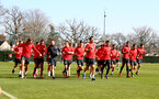SOUTHAMPTON, ENGLAND - FEBRUARY 26: Players warm up together during a Southampton FC training session at the Staplewood Campus on February 26, 2019 in Southampton, England. (Photo by Matt Watson/Southampton FC via Getty Images)