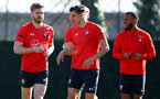 SOUTHAMPTON, ENGLAND - FEBRUARY 26: Stuart Armstrong(L) during a Southampton FC training session at the Staplewood Campus on February 26, 2019 in Southampton, England. (Photo by Matt Watson/Southampton FC via Getty Images)