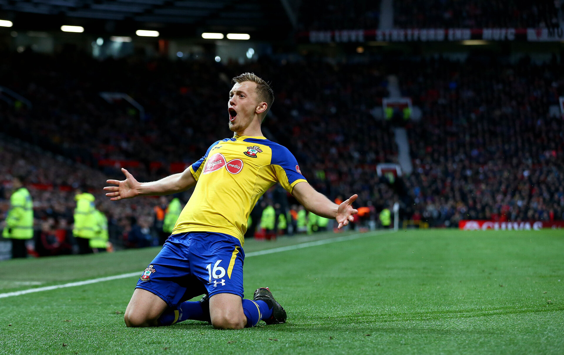 MANCHESTER, ENGLAND - MARCH 02: James Ward-Prowse of Southampton celebrates after making it 2-2 during the Premier League match between Manchester United and Southampton FC at Old Trafford on March 02, 2019 in Manchester, United Kingdom. (Photo by Matt Watson/Southampton FC via Getty Images)