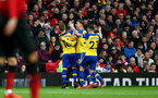 MANCHESTER, ENGLAND - MARCH 02: Southampton players celebrate after Yan Valery puts them 1-0 up during the Premier League match between Manchester United and Southampton FC at Old Trafford on March 02, 2019 in Manchester, United Kingdom. (Photo by Matt Watson/Southampton FC via Getty Images)