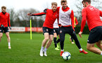 SOUTHAMPTON, ENGLAND - MARCH 03: Josh Sims(L) and Matt Targett during a Southampton FC training session at the Staplewood Campus on March 03, 2019 in Southampton, England. (Photo by Matt Watson/Southampton FC via Getty Images)
