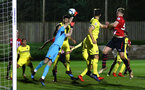 SOUTHAMPTON, ENGLAND - MARCH 06: Southampton FC corner kick punched away by JOAN FEMENÍAS of Villareal (left) during the U23's International Cup match between Southampton FC vs Villarreal pictured at Staplewood Complex on March 06, 2019 in Southampton, England. (Photo by James Bridle - Southampton FC/Southampton FC via Getty Images)