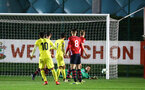 SOUTHAMPTON, ENGLAND - MARCH 06: Harry Lewis of Southampton FC makes a save (right) during the U23's International Cup match between Southampton FC vs Villarreal pictured at Staplewood Complex on March 06, 2019 in Southampton, England. (Photo by James Bridle - Southampton FC/Southampton FC via Getty Images)
