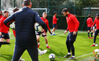 SOUTHAMPTON, ENGLAND - MARCH 07:  Charlie Austin (right) during a Southampton FC training session pictured at Staplewood Complex on March 07, 2019 in Southampton, England. (Photo by James Bridle - Southampton FC/Southampton FC via Getty Images)