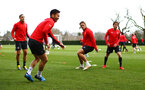 SOUTHAMPTON, ENGLAND - MARCH 07:  LtoR Oriol Romeu, Maya Yoshida, Jannik Vestergaard, Jake Vokins during a Southampton FC training session pictured at Staplewood Complex on March 07, 2019 in Southampton, England. (Photo by James Bridle - Southampton FC/Southampton FC via Getty Images)