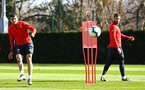 SOUTHAMPTON, ENGLAND - MARCH 07:  Mohamed Elyounoussi (left) during a Southampton FC training session pictured at Staplewood Complex on March 07, 2019 in Southampton, England. (Photo by James Bridle - Southampton FC/Southampton FC via Getty Images)