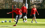 SOUTHAMPTON, ENGLAND - MARCH 07:  Nathan Redmond (left) during a Southampton FC training session pictured at Staplewood Complex on March 07, 2019 in Southampton, England. (Photo by James Bridle - Southampton FC/Southampton FC via Getty Images)