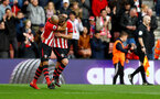 SOUTHAMPTON, ENGLAND - MARCH 09: James Ward-Prowse(R) of Southampton celebrates with team mate Nathan Redmond during the Premier League match between Southampton FC and Tottenham Hotspur at St Mary's Stadium on March 09, 2019 in Southampton, United Kingdom. (Photo by Matt Watson/Southampton FC via Getty Images)