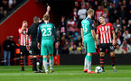 SOUTHAMPTON, ENGLAND - MARCH 09: Oriol Romeu of Southampton receives a yellow card during the Premier League match between Southampton FC and Tottenham Hotspur at St Mary's Stadium on March 09, 2019 in Southampton, United Kingdom. (Photo by Matt Watson/Southampton FC via Getty Images)
