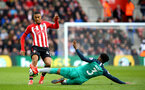 SOUTHAMPTON, ENGLAND - MARCH 09:  Yan Valery of Southampton is challenged by of Tottenham Hotspur Danny Rose during the Premier League match between Southampton FC and Tottenham Hotspur at St Mary's Stadium on March 09, 2019 in Southampton, United Kingdom. (Photo by James Bridle - Southampton FC/Southampton FC via Getty Images)