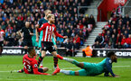 SOUTHAMPTON, ENGLAND - MARCH 09:  Yan Valery scores for Southampton FC (left) during the Premier League match between Southampton FC and Tottenham Hotspur at St Mary's Stadium on March 09, 2019 in Southampton, United Kingdom. (Photo by James Bridle - Southampton FC/Southampton FC via Getty Images)