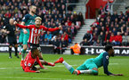SOUTHAMPTON, ENGLAND - MARCH 09:  Josh Sims celebrates as Yan Valery slides the ball into the net for Southampton FC during the Premier League match between Southampton FC and Tottenham Hotspur at St Mary's Stadium on March 09, 2019 in Southampton, United Kingdom. (Photo by James Bridle - Southampton FC/Southampton FC via Getty Images)