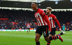 SOUTHAMPTON, ENGLAND - MARCH 09:  Yan Valery (left) runs to celebrate after scoring during the Premier League match between Southampton FC and Tottenham Hotspur at St Mary's Stadium on March 09, 2019 in Southampton, United Kingdom. (Photo by James Bridle - Southampton FC/Southampton FC via Getty Images)