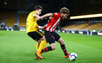 WOLVERHAMPTON, ENGLAND - MARCH 05:  Jake Vokins  (right) during the PL2 U23's match between Wolverhampton Wanders and Southampton FC at Molineux Stadium in Wolverhampton, England, on March 05, 2019 (Photo by James Bridle - Southampton FC/Southampton FC via Getty Images)
