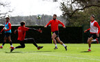 SOUTHAMPTON, ENGLAND - MARCH 13: Charlie Austin lifts the ball over Harry Lewis during a Southampton FC training session at the Staplewood Campus on March 13, 2019 in Southampton, England. (Photo by Matt Watson/Southampton FC via Getty Images)