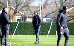 SOUTHAMPTON, ENGLAND - MARCH 13: Ralph Hasenhuttl (middle) during a Southampton FC training session at Staplewood Complex on March 13, 2019 in Southampton, England. (Photo by James Bridle - Southampton FC/Southampton FC via Getty Images)