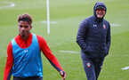 SOUTHAMPTON, ENGLAND - MARCH 13: Ralph Hasenhuttl (right) during a Southampton FC training session at Staplewood Complex on March 13, 2019 in Southampton, England. (Photo by James Bridle - Southampton FC/Southampton FC via Getty Images)