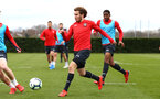 SOUTHAMPTON, ENGLAND - MARCH 13: Jake Vokins  (middle) during a Southampton FC training session at Staplewood Complex on March 13, 2019 in Southampton, England. (Photo by James Bridle - Southampton FC/Southampton FC via Getty Images)