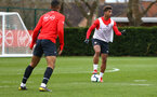 SOUTHAMPTON, ENGLAND - MARCH 13: Mario Lemina (right) during a Southampton FC training session at Staplewood Complex on March 18, 2019 in Southampton, England. (Photo by James Bridle - Southampton FC/Southampton FC via Getty Images)