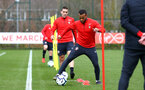 SOUTHAMPTON, ENGLAND - MARCH 13: Ryan Bertrand (right) during a Southampton FC training session at Staplewood Complex on March 18, 2019 in Southampton, England. (Photo by James Bridle - Southampton FC/Southampton FC via Getty Images)