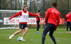 SOUTHAMPTON, ENGLAND - MARCH 13: Jannik Vestergaard (left) during a Southampton FC training session at Staplewood Complex on March 18, 2019 in Southampton, England. (Photo by James Bridle - Southampton FC/Southampton FC via Getty Images)